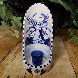 Hand Painted Delft Blue Windmill Candle Holder